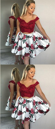 Two Piece Homecoming Dresses Aline Floral Print Short Prom Dress Lace Party Dress JK947 - onlybridals