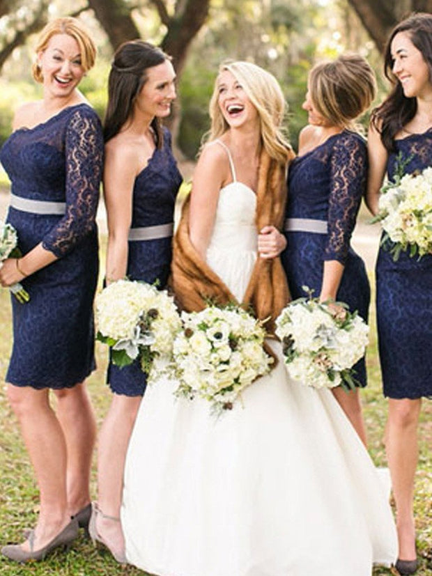 onlybridals Short Bridesmaid Dresses One Shoulder Long Sleeve Lace Bridesmaid Dresses