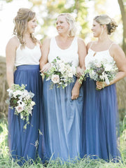 Two Piece Bridesmaid Dresses Spaghetti Straps Tulle Simple Navy Bridesmaid Dresses JKB076 - onlybridals