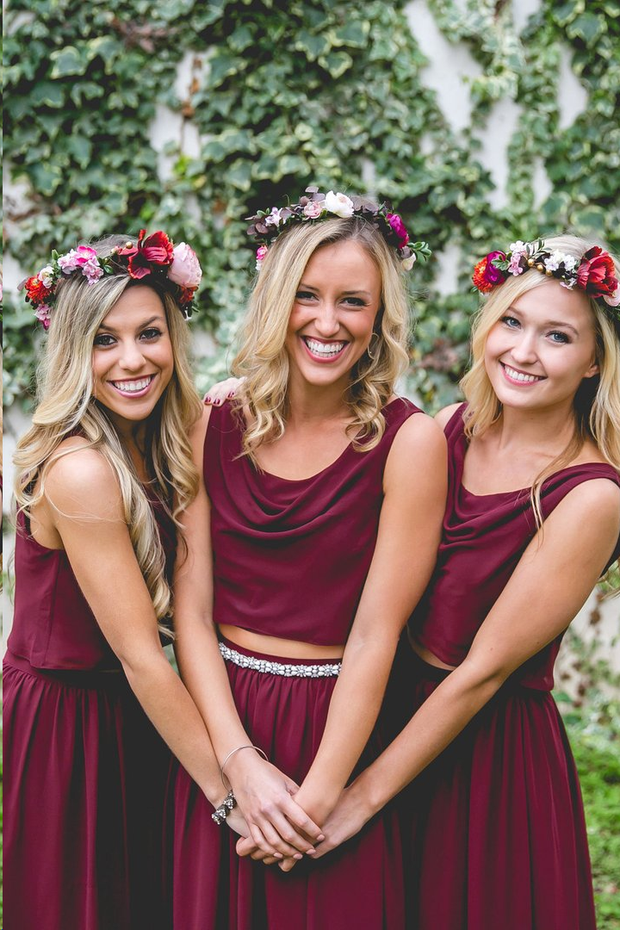 Two Piece Bridesmaid Dresses Bohemia A Line Burgundy Long Chiffon Cheap Bridesmaid Dresses JKB080 - onlybridals