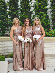 Sparkly Bridesmaid Dresses Sequins Lace One Shoulder Navy Blue Rose Gold Bridesmaid Dresses JKB086 - onlybridals