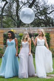 Tulle Bridesmaid Dresses with Spaghetti Straps A Line Long Open Back Cheap Bridesmaid Dresses JKB088 - onlybridals