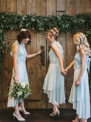 Two Piece Bridesmaid Dresses High Neck Chiffon Simple Lace High Low Bridesmaid Dresses JKB092 - onlybridals