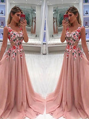 Sparkly Prom Dresses A-line Straps Long Embroidery Prom Dress JKL1019 - onlybridals