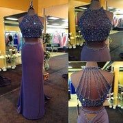 Sparkly Two Piece Prom Dresses Column Rhinestone Sweep Train Long Prom Dress JKL1070 - onlybridals