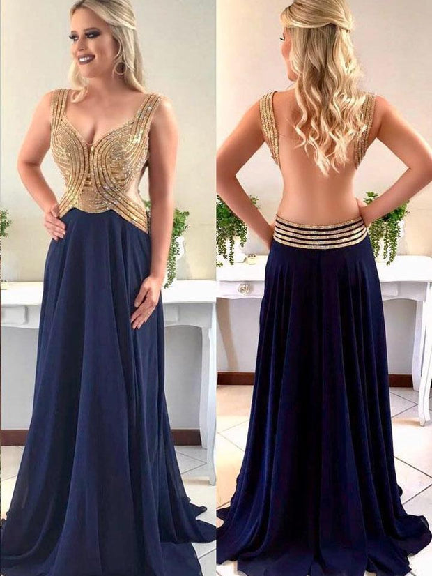 Sparkly Prom Dresses Aline Straps V-neck Long Chiffon Open Back Prom Dress JKL1110 - onlybridals