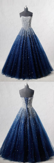 Sparkly Prom Dresses Strapless Dark Navy Sequins Long Beautiful Prom Dress JKL1127 - onlybridals