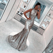 Sparkly Prom Dresses Mermaid Sequins Long Gold Prom Dress Sexy Silver Evening Dress JKL1169 - onlybridals