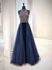 Sparkly Prom Dresses High Neck A Line Lace Beading Prom Dress Sexy Evening Dress JKL1215 - onlybridals