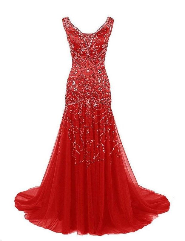 Sparkly Prom Dresses with Straps Mermaid Sweep Train Beading Chic Prom Dress JKL1363 - onlybridals