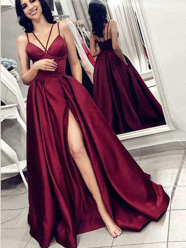 onlybridals Simple Prom Dresses with Pockets Spaghetti Straps Sexy Burgundy Cheap Slit Prom Dress