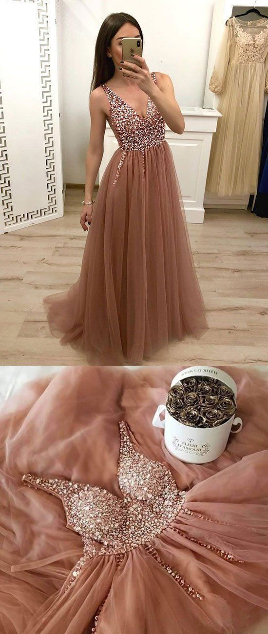 Sparkly Prom Dresses with Straps V-neck A Line Tulle Dusty Rose Sexy Prom Dress JKL1503 - onlybridals