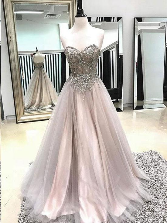 Sparkly Prom Dresses A-line Sweetheart A Line Tulle Long Prom Dress Sexy Evening Dress JKL1574 - onlybridals