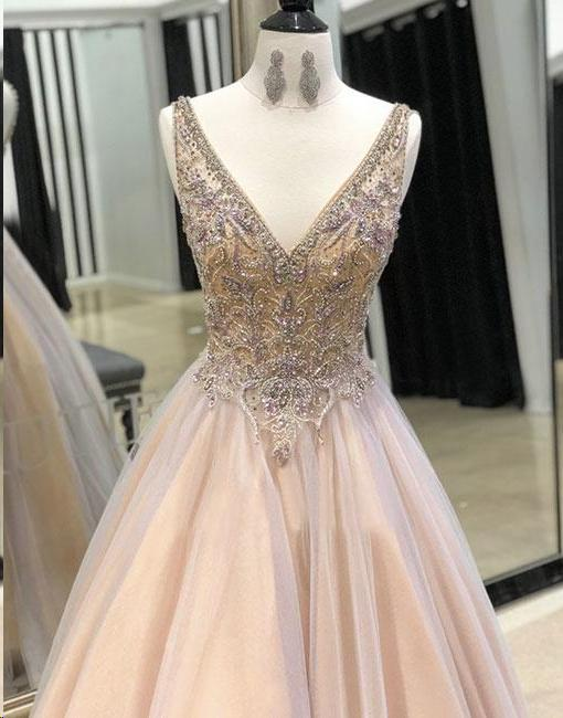 Sparkly Prom Dresses with Straps V-neck A Line Long Beaded Tulle Chic Prom Dress JKL1575 - onlybridals