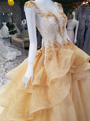 Sparkly Prom Dresses Bateau Sweep Train Appliques Beaded Lace Luxury Prom Dress JKL1590 - onlybridals