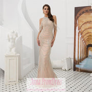 Sparkly Prom Dresses Scoop Sheath Back Slit Beaded Prom Dress Sexy Evening Dress JKL1604 - onlybridals