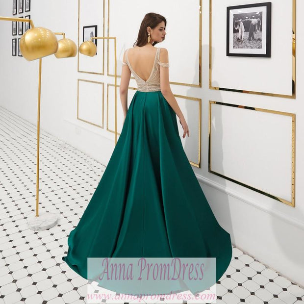 Sparkly Prom Dresses Aline Beading V-neck Open Back Satin Dark Green Prom Dress JKL1606 - onlybridals