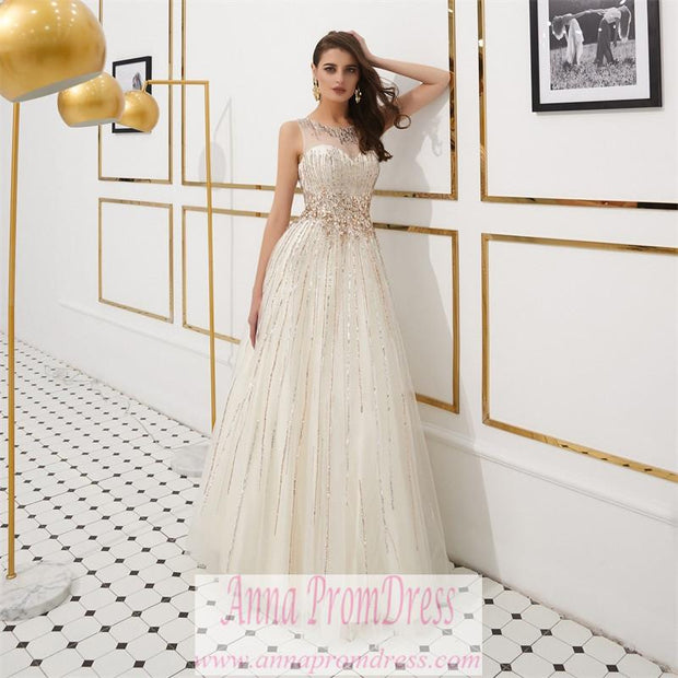 Sparkly Prom Dresses Scoop Aline Key Hole Back Beaded Long Gorgeous Prom Dress JKL1610 - onlybridals