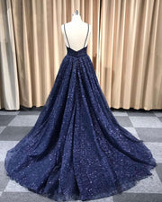 Sparkly Prom Dresses with Spaghetti Straps Aline Long Dark Navy Gorgeous Prom Dress JKL1616 - onlybridals