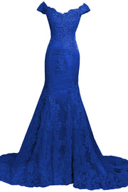 Trumpet/Mermaid Prom Dresses Off-the-shoulder Appliques Tulle Sexy Prom Dress/Evening Dress JKL265 - onlybridals
