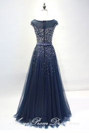 Tulle Prom Dresses Bateau A Line Rhinestone Dark Navy Sexy Long Prom Dress JKL581 - onlybridals