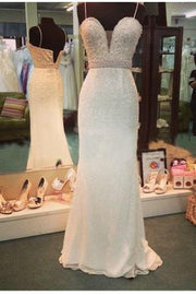 Sparkly Prom Dresses Spaghetti Straps Sheath Column Sequins Long Prom Dress JKL866 - onlybridals