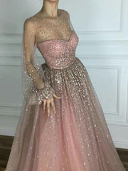 Sparkly Prom Dresses Scoop A line Floor-length Long Chic Prom Dress JKL980 - onlybridals