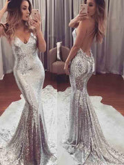 onlybridals Silver  V-neck Sexy Prom Dresses Trumpet/Mermaid Long Prom Dress/Evening Dress - onlybridals