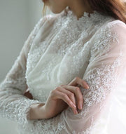 onlybridals Short Wedding Dresses Scoop Long Sleeves Tea-length Chic Bridal Gown - onlybridals