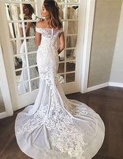 onlybridals Sheath/Column Wedding Dresses Off-the-shoulder Sweep/Brush Train Bridal Gown - onlybridals