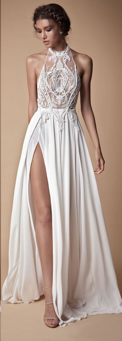 onlybridals Simple Wedding Dresses with Slit A Line Floor-length Appliques Halter Sexy Bridal Gown