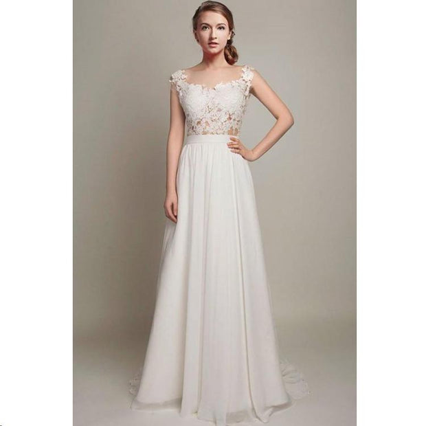 onlybridals Simple Cheap Wedding Dresses Scoop Short Train Romantic Chiffon Open Back Bridal Gown - onlybridals