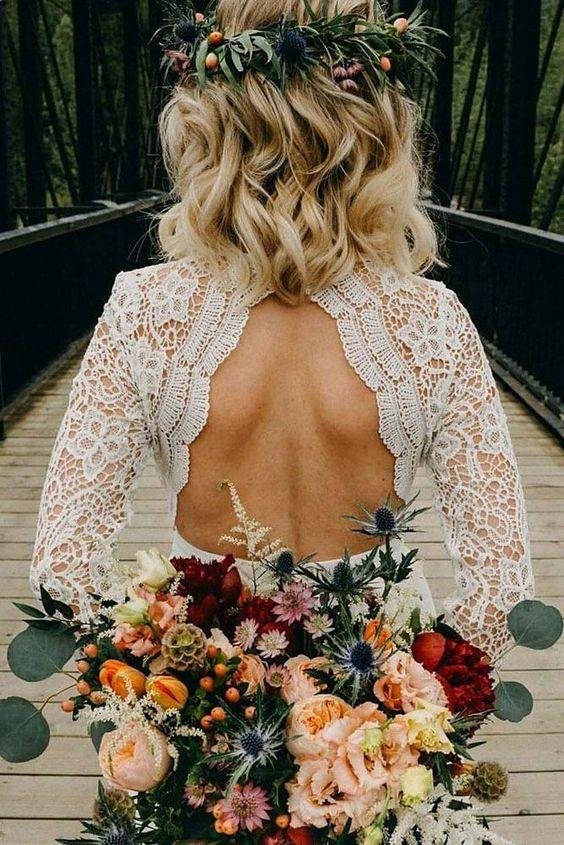 onlybridals Simple Cheap Wedding Dresses V-neck Long Sleeve Romantic Lace Open Back Bridal Gown - onlybridals