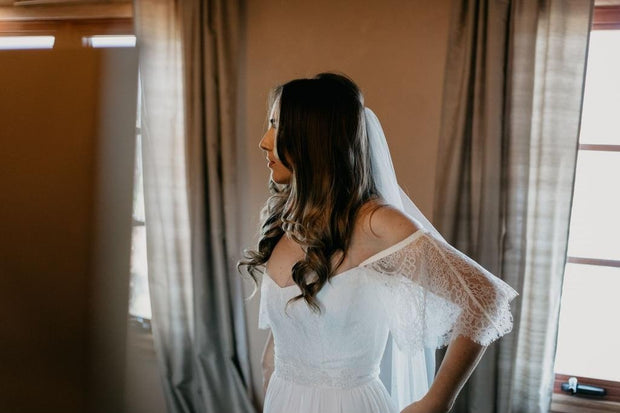 onlybridals Simple Wedding Dresses Romantic Off-the-shoulder Aline Long Open Back Lace Bridal Gown - onlybridals