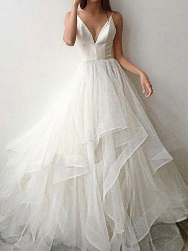 onlybridals Sexy V neck Spaghetti Straps Tiered Tulle Wedding Dress Satin Backless Bridal Wedding Gown - onlybridals