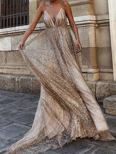 onlybridals Alluring A-Line Deep V-Neck Spaghetti Straps Sparkly Sleeveless Long Prom Dresses - onlybridals