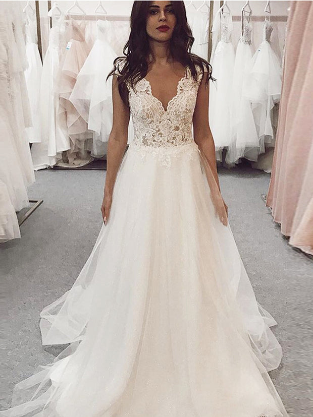 onlybridals V-neck Boho Wedding Dresses A-line Lace Appliques Bridal Gowns Cap Sleeves Backless Sweep Train - onlybridals