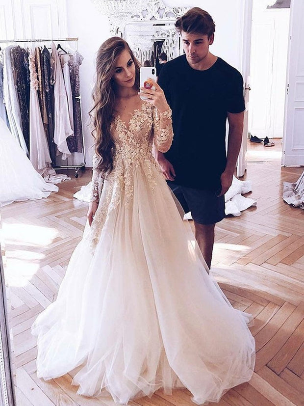 Long Sleeves Lace Appliques Light Champagne Tulle Long Prom Dresses Wedding Dresses - onlybridals