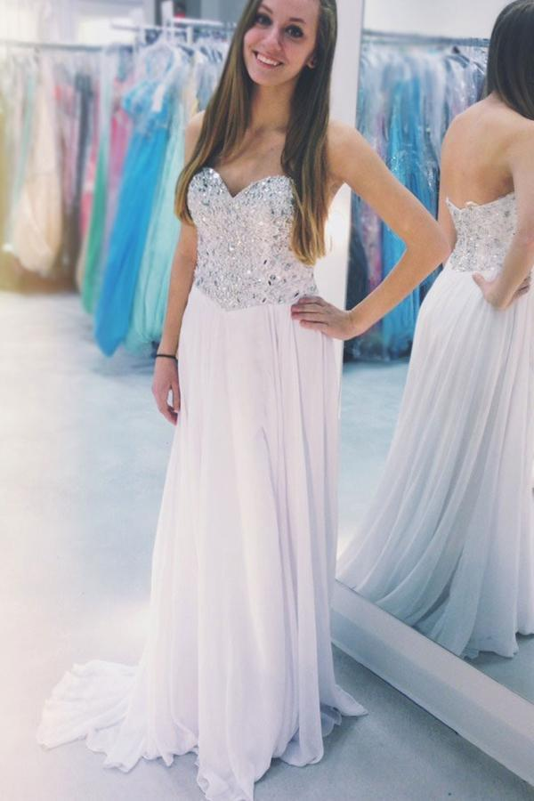 White Sweetheart Beaded Strapless Chiffon A-Line Long Prom Dresses, MP403