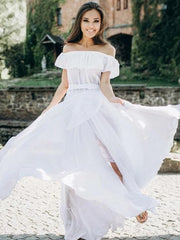 onlybridals A-Line Off Shoulder Chiffon Beach Wedding Dresses With Ruffles - onlybridals
