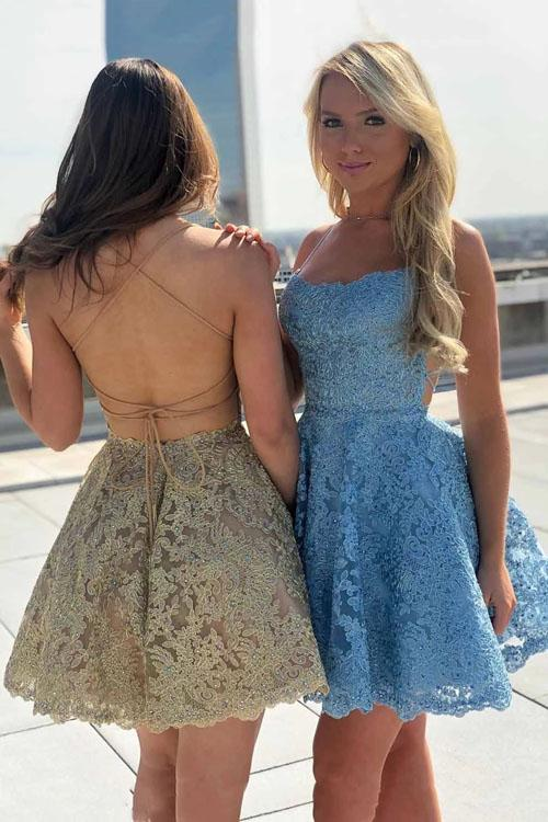 Spaghetti-straps Lace Party Dresses Backless Homecoming Dresses,MH463 - onlybridals