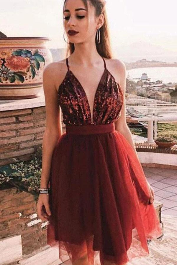 Spaghetti Straps V-Neck Burgundy Tulle Homecoming Dresses with Sequins,MH469