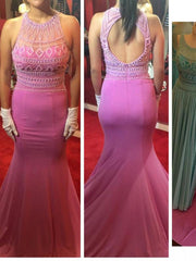 Trumpet/Mermaid Scoop Floor-length Chiffon Prom Dress/Evening Dress #MK0986 - onlybridals