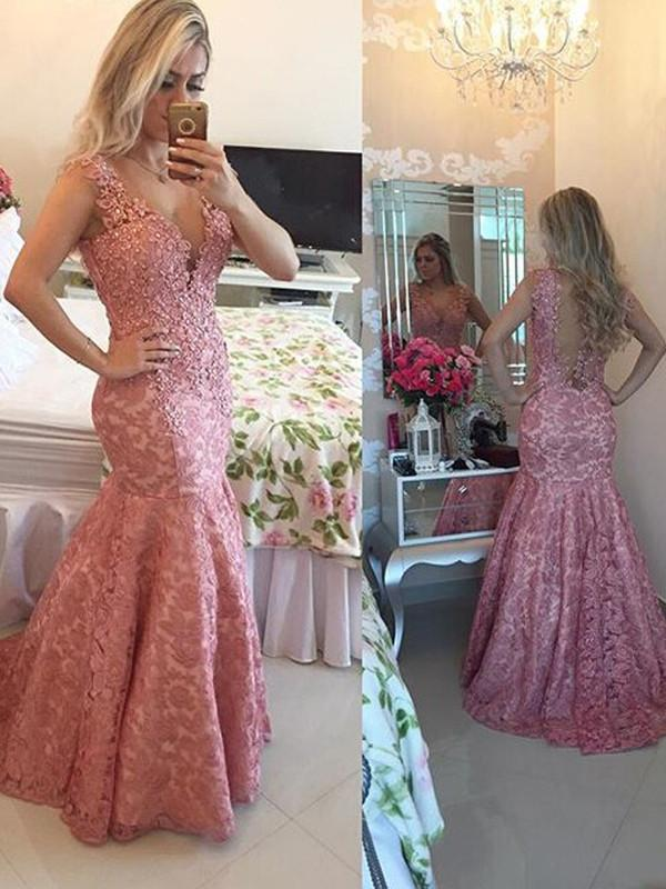 onlybridals plus size Trumpet Mermaid V-neck Floor-length Tulle Prom Dress Evening Dress - The Only Love Wedding Dress