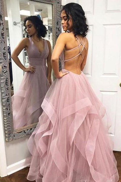 V-neck Simple Dusty Rose Long Prom Dresses with Straps and Ruffle Skirt,MP440