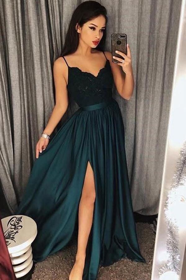 Spaghetti-Straps Dark-Green Prom Dress Lace Evening Gowns With Slit, MP463 - onlybridals