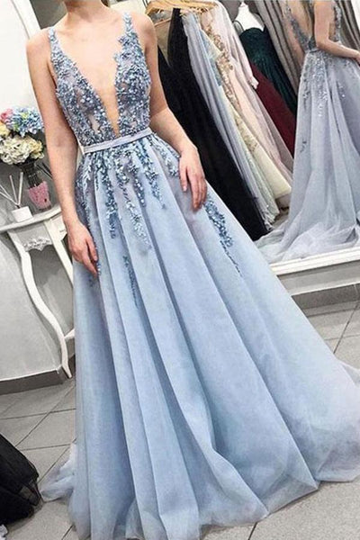 Sleeveless V-neck Backless Light Blue with Lace Appliques Long Prom Dresses,MP481