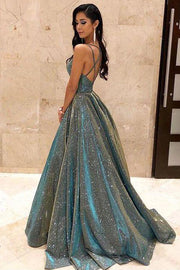 V-neck Sparkly Satin Long Prom Dresses with Pockets,Cross Back Evening Dresses,MP483 - onlybridals