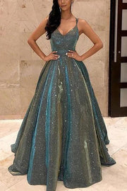 V-neck Sparkly Satin Long Prom Dresses with Pockets,Cross Back Evening Dresses,MP483