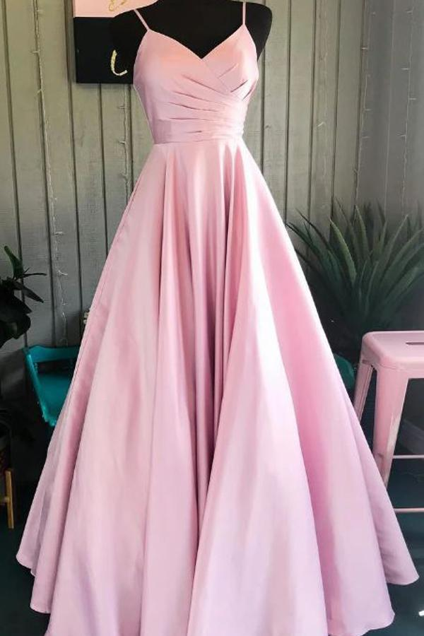 Spaghetti Straps Pink Satin Formal Dresses Pleated Bodice Simple Prom Dresses,MP504 - onlybridals